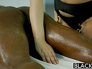 Black client almost falls asleep but Italian masseuse with hot curves quickly cheers him up 4