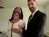 Handcuffed woman with spider gag comes to building where man meets her and assfucks 5