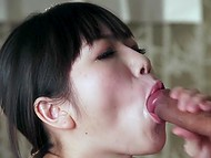 High-quality porn video dedicated to blowjob skills of pleasant Japanese cutie 9