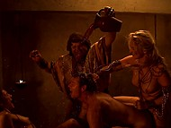 Scenes of group sex and crazy lust from movie 'Spartacus featuring Bonnie Sveen