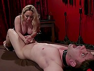 Mistress Aiden Starr treats guy with electric toy then fingers his anus and fucks with strapon 11