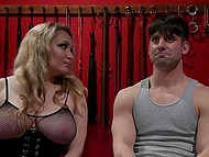 Mistress Aiden Starr treats guy with electric toy then fingers his anus and fucks with strapon 3