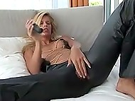 Outfit of blonde Czech girl purposely is made with hole between legs for masturbating session like this 11