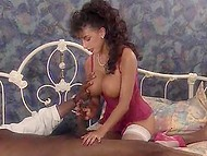 Vintage sextape with busty pornstar Sarah Young riding big chocolate stick with hairy pussy 4