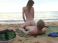 Australian couple goes on sandy beach and does it listening to the murmur of the sea 7