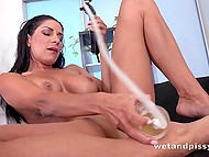 Great-tittied female has passion for peeing and stimulating vagina with pomp 4
