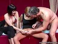 Elegant brunette watched man to have great time with busty MILF in Dutch video 5