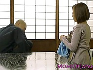 Japanese female shows her juicy breasts to bald gentleman, who can't ignore such beauty 10