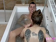 Beautiful girls go in jacuzzi to tattooed guy and give him blowjob in Spanish video 4