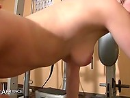 Beautiful French babe with pigtails gave blowjob in shower and had awesome sex with coach in gym 6