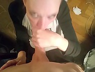 Young emo girl from Sweden drinks some Red Bull and vigorously sucks cameraman's cock 4