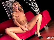 Long-legged Portuguese beauty actively penetrates own pussy with silver sex toy 11