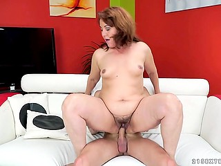 Youngster fucked mature female and covered hairy vagina with cum after several hot kisses