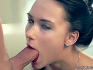 Gentle brunette with pretty face slowly sucked gentleman's penis and helped him to cum 5