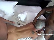 Old woman with untanned tits and pussy is very happy to be fucked by two black stallions 11