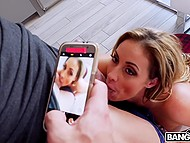 Curly Eva Notty with big hooters was making selfies when handsome man approached and asked for sex 5