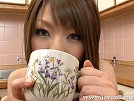 Japanese housemaid with strong boobs gathers pussy juice in cup to taste it in solo video 10