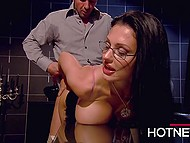 Fiery Hungarian secretary Aletta Ocean visits her boss at home to disturb him from paperwork 5