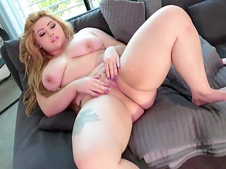Couple of adult toys were needed to make light-hared BBW feel good on couch