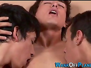 Young gay just wakes up when two best friends start fucking him from both ends
