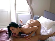 Cavalier took off panties and licked unshaven pussy then creampied dark-haired babe 9