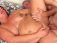 Raunchy BBW with pierced nipples received cunnilingus and took ride on energetic old man's dick 8