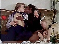 Waitress brings champagne to Danish lady and her black cavalier and takes part in interracial threesome 6
