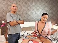Guy leaves bedroom to talk on phone and girlfriend serves his old stepdad's cock 4