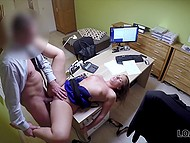 Czech girl really needs credit so she spreads legs for employee on office table