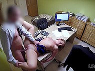Czech girl really needs credit so she spreads legs for employee on office table 11