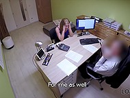 Czech girl really needs credit so she spreads legs for employee on office table 4