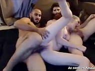 Guys stream threesome sex with creamy-skinned stepsister in pursuit of profit 11
