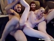 Guys stream threesome sex with creamy-skinned stepsister in pursuit of profit