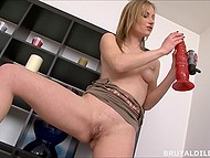 Intriguing girl had to moisten dildo thoroughly to fit it into tight pussy in solo video 4