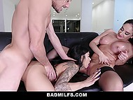 Dirty MILF and her petite stepdaughter try everything to dissuade stepson going to navy