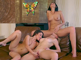 Comely brunettes and one pretty blonde came in house for sensual lesbian threesome