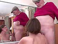 Slutty French woman enjoys anal sex in company of old man and energetic guy