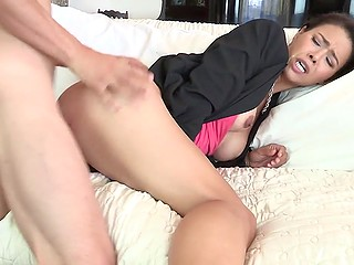 Lustful Asian wanted to distract so man pulled dick out of pants and got down to business