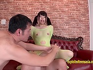 Fuckers tore fishnet bodystocking and shoved dicks into petite Japanese's pussy in turn 6