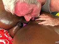 Old man suggested that black BBW should lie down on massage table and relax 7
