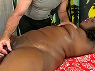Old man suggested that black BBW should lie down on massage table and relax 8