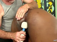 Old man suggested that black BBW should lie down on massage table and relax 9