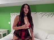 Outstanding Spanish with massive natural tits shows how to play with double-sided dildo