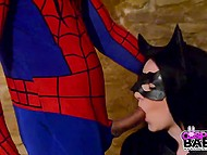 Female superhero Black Cat sucks and rides firm cock of her best friend Spiderman