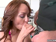 Male played with great buttocks of chesty female and received high-class blowjob