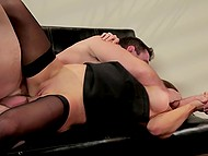 Experienced fucker helped stunning secretary to undress and arranged fervent sex with her 4