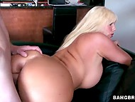 Karen Fisher is owner of huge boobs and ass who brings young guy home and spreads legs for him 6