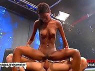 Long-legged chocolate from Germany was so sexy that fucker blasted huge load of cum on her face
