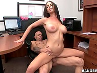 In the midst of working day, big-boobied Brandy Aniston and bald boss take break to enjoy fucking 6