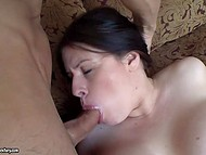 Brunette MILF Daphne Rosen is so happy that partner cums on huge coconuts after fucking 5